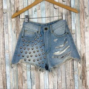 Unif 23 Studded Stunna Cut Off Ripped Jean Shorts